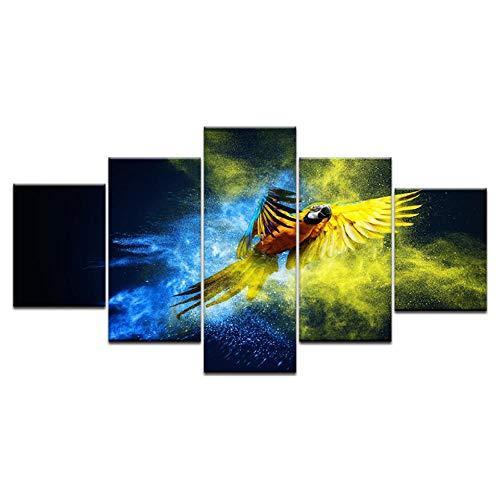 Wslin 5 panelen/stuks gedrukt kleurrijke papegaai vliegen dier muur poster druk op canvas kunst schilderij voor thuis woonkamer decoratie afdrukken op canvas 150 x 80 cm