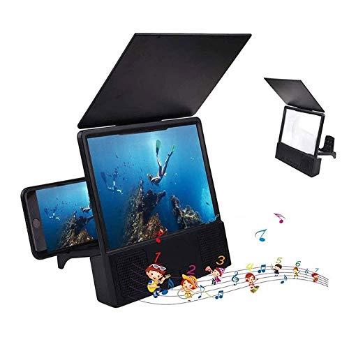 ZHTY Telefon-Telefon-Lupe mit Bluetooth-Lautsprecher 3D Vergrößern HD Mobiltelefon-Bildschirmverstärker-Projektor mit faltbaren und einstellbaren Ständen für alle Smartphone-Bildschirm Song