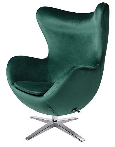 furnigo | Sillón de diseño en forma de huevo, reproducción, atemporal, muchos colores, terciopelo (verde oscuro).