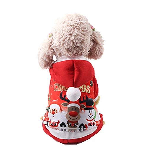NACOCO Pet Four-Legged Christmas Hoodie Sweater with Santa Claus Snowman Elk Dog Cat Winter Clothes (S)