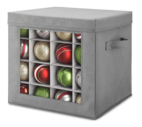 Whitmor Holiday Ornament Storage Cube with 64 Individual Compartments - Durable Non-Woven Polypropylene Fabric - Clear Front Window - Removable Top and Convenient Handle – Xmas Ornaments Organizer