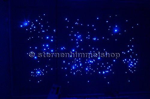Sternenhimmel LED Komplett-Set Beleuchtung mit SPRÜHKLEBER 240 Lichtfasern 0,75 mm Glasfaser Memory Funktion, Funkeleffekt und weitere Lichteffekte, 50% blau, 50% weiß, einbaufertig