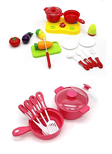 LOZUSA Kids Mini Cook Serve Food Play Set Play Kitchen Toy Toddlers Best Educational Gift Children Boys Girls Ages 3 Years Up