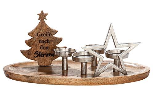 GILDE Kerzenhalter - aus Mango-Holz mit Aluminium Elementen und Spruch H 26 cm