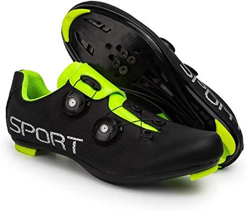 KUXUAN Zapatillas de Ciclismo Zapatillas de Ciclismo de Carretera para Hombre y Mujer - con Zapatillas de Bicicleta con Pedal SPD y Delta Lock,Black-42