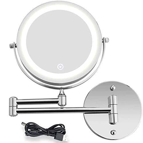 DCLINA Espejo Maquillaje Espejo Pared LED Espejo Belleza 1X/10X Aumento Doble Cara,...