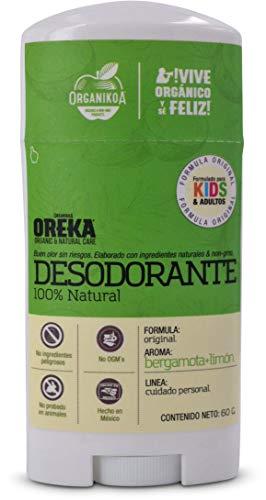 Oreka® Desodorante 100% Natural Aroma Bergamota + Limón. Sin aluminio. Sin ingredientes tóxicos. 60g.