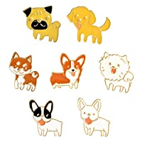 #N/A 8ピース/個漫画エナメル犬動物ピンバッジコサージュブローチバースデージュエリー