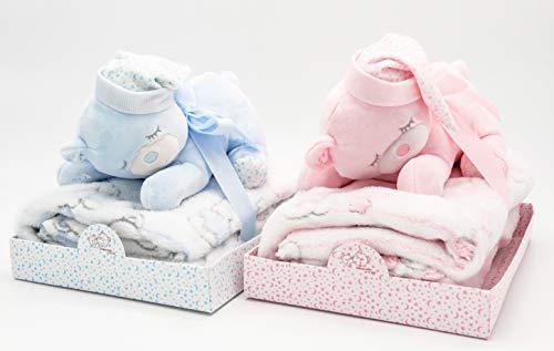 Baby Geschenk Set mit Kuscheldecke und Teddybär Schlafmütze (Blau)