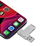 USB Flash Drive 256GB Thumb Drives Photo Stick USB3.0 iOS Memory Stick 3 in 1 External Drive Richwell Compatible Phone Pad Mac Android and PC (Silver-04ZK256G)