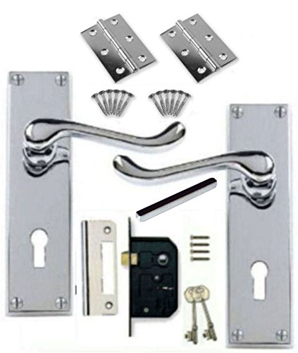 Victorian Scroll Polished Chrome Door Handle Lock Pack +2 Lever Lock +Hinges (KA)