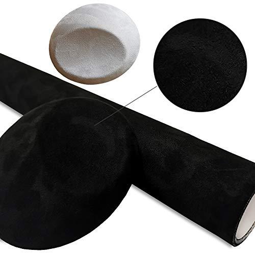 Rapid Teck® (28€/m²) Mikrofaser Folie selbstklebend Schwarz 3D Wildleder 10 cm x 152 cm Velvet Stoff Folie BLASENFREI