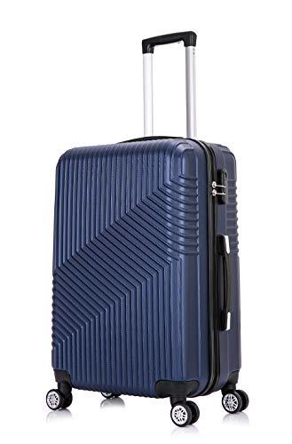 Frentree Hartschalen-Koffer 02 | Trolley Reisekoffer Handgepäck mit 4 Rollen M-L-XL-Set zum Auswahl, Koffer Standard Farbe:Dunkelblau, Koffer Standard Größe:L(66CM)
