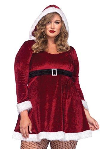 Leg Avenue Women's Plus Size Sexy Santa Velvet Hooded Dress, Red, 1X/2X