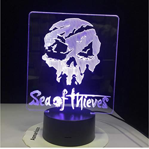 Sea Of Thieves Figur Dekoration Multicolors Jungen Kind Kinder Baby Geschenke Spiel Logo Tischlampe Usb 3D Led Nachtlicht Fernbedienung