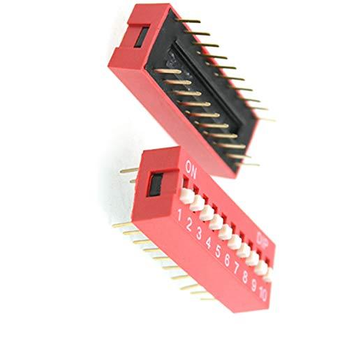 Aexit 10 Piezas Rojo Doble Fila 20 Pines 10P Posiciones Interruptor (model: F5209OIV-9360GK) DIP 2.54mm Paso