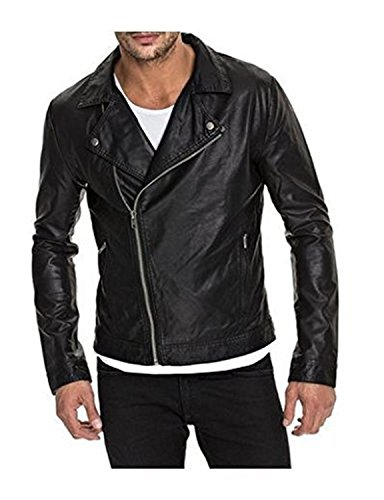Laverapelle Men's Genuine Lambskin Leather Jacket (Black, Large, Polyester Lining) - 1501453