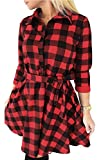 FANCYINN Womens Long Sleeve Plaid Pattern Tunic Tops Shirt Casual Spring Dress Red S