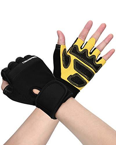 Cevapro Fitness Handschuhe,Trainingshandschuhe mit Handgelenkstütze für Krafttraining, Gewichtheben, Crossfit, Bodybuilding, Radsport, Gym, Damen, Herren (Gelb, Large)