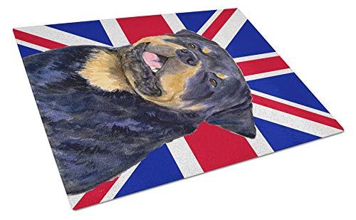 Carolines Treasures Glasschneidebrett USA Amerikanische Flagge mit Rottweiler Union Jack 12H x 16W mehrfarbig