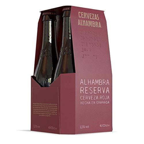 Alhambra - Reserva Roja Cerveza Bock Lager, 7.2 % Volumen de Alcohol - Pack de 4 x 33 cl