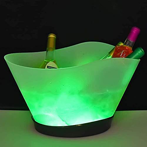 ESGT Cubo De Hielo LED De 12 litros Cubo De Hielo Iluminado De Gran Capacidad con 7 Colores Que Cambian Recargable Champagne Vino Bebidas Cerveza Cubo De Hielo Fiesta Bar Inicio