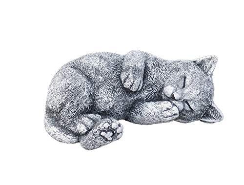 Stone and Style Steinfigur Katze Minka träumend, massiver Steinguss, Frost- und wetterfest bis -30°C
