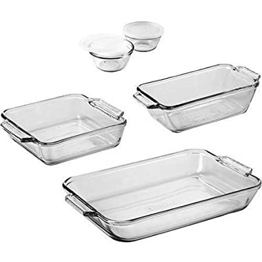 Anchor Hocking 7-Piece Bakeware Set / 5-qt rectangular baking pan 8  cake pan 1.5-qt loaf pan
