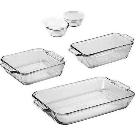 Anchor Hocking 7-Piece Bakeware Set / 5 Rectangular Baking 8' Cake 1.5-qt loaf pan, 1 pack, Clear