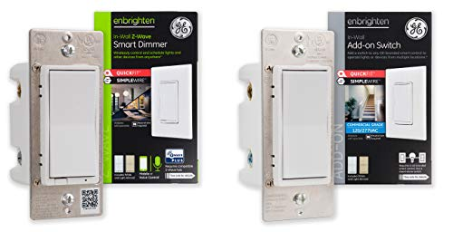 GE Enbrighten Smart in-Wall Paddle Dimmer and Add-On Switch with QuickFit and SimpleWire 3-Way Kit, Z-Wave Hub Required, Works with Ring Alarm, Alexa and More, 47865, White & Light Almond