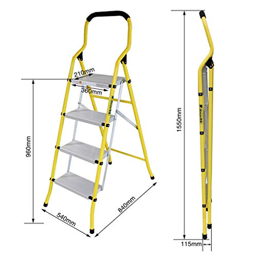 Multiple scenes Kitchen Ladder, Portable Three-step Ladder Outdoor Five-step Ladder Folding Metal Ladder ChenB (Size : 5401151550MM)