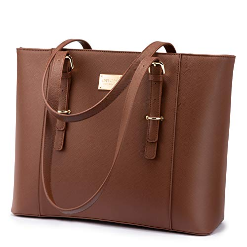 Professional Laptop Purse Tote Bag with Padded Compartment Fits Up to 15.6 Inch Computer, N°1-Coffee