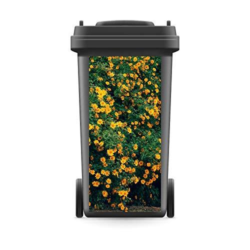 WERBEPUNKT. Mülltonnenaufkleber Mülltonne Mülleimer Abfalltonne Sticker Sonnenblumen Blume - 800 x 370 mm