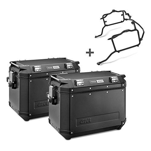 Juego de maletas laterales Kawasaki Versys 650 15-16 Givi Monokey Trekker Outback OBK48B en aluminio negro