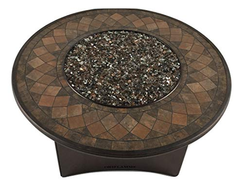 Fantastic Deal! Oriflamme New Mosaic Stone Gas Fire Pit Outdoor Propane Fire Table with Tempered Gla...