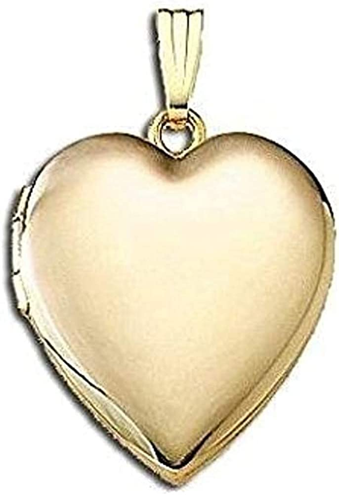 PicturesOnGold.com Solid 14K Yellow Gold Sweetheart Valentines Day Locket 3/4 Inch X 3/4 Inch in Solid 14K Yellow Gold with Engraving