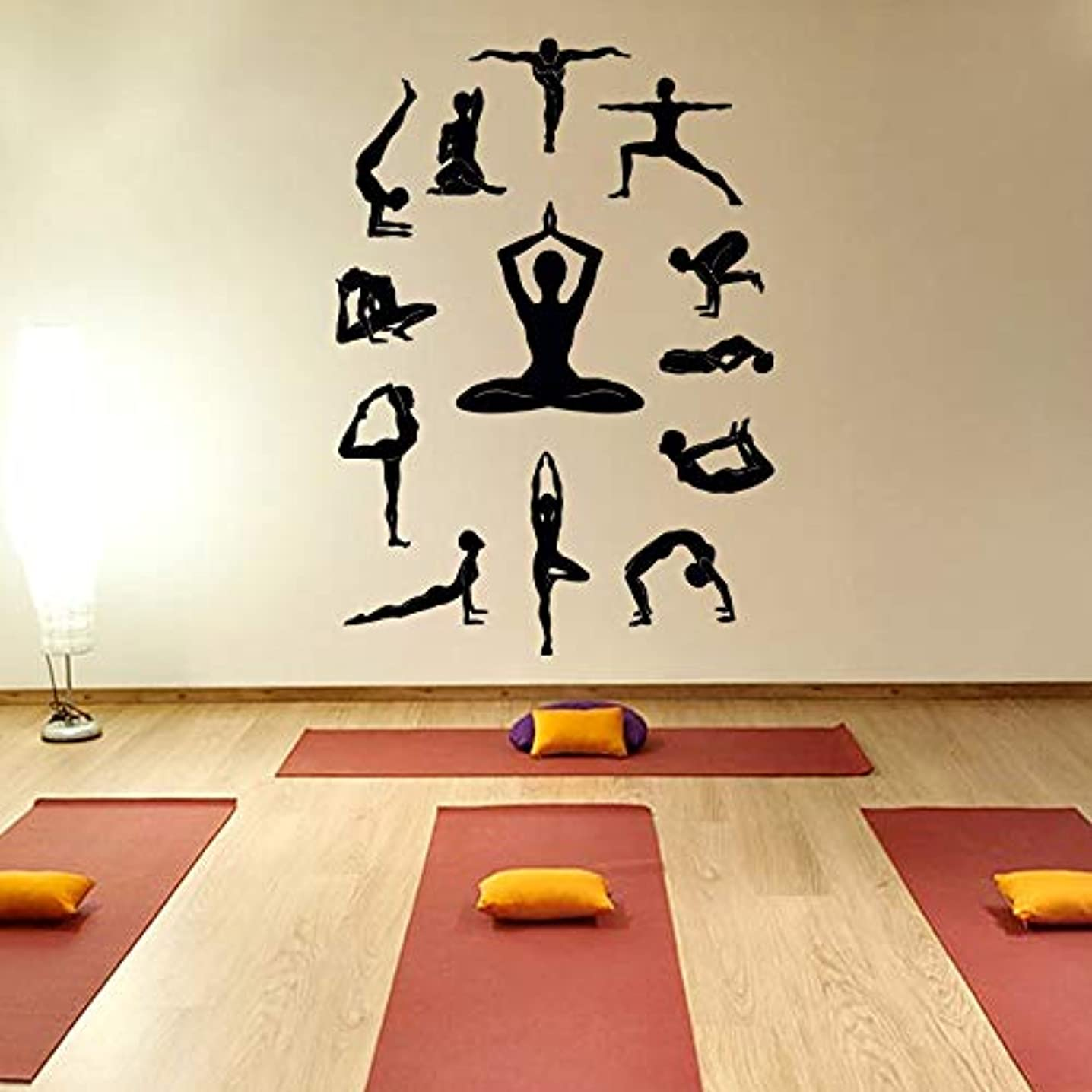 Yoga Wall Decal Vinyl Sticker, Yoga Studio Decor, Lotus Yoga Meditation Symbol Fitness Pilates Sports Wall Decals Wall Art Home Decor Z890