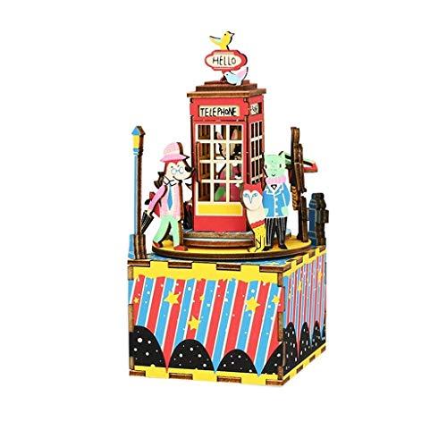 LYATW 3D-Puzzles aus Holz Handkurbel Spieluhr DIY Bauen zusammen Craft Kits Groß Geburtstag for Erwachsene, Jungen und Mädchen Alter (Color : Style 3)