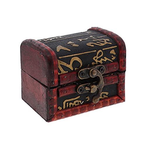 3 Inch Wooden Keepsake Treasure Chest Trinket Box - Hieroglyphics