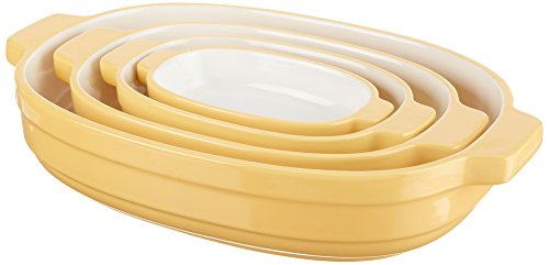 KitchenAid Nesting Ceramic 4-Piece Bakeware Set - Butter Cup