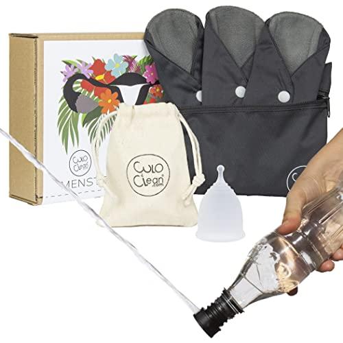 CuloClean Copa Menstrual (S) + 3 salvaslips de tela. Incluye bidé portátil y bolsitas. Silicona médica hipoalergénica y compresas de fibra de bambú.
