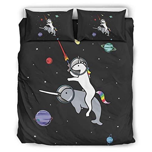O5KFD&8 NASA-eenhoorn beddengoedset European Style 3-delig dekbedovertrek - Zwarte ruimte zacht en comfortabel Bohemian sprei White 264x229cm