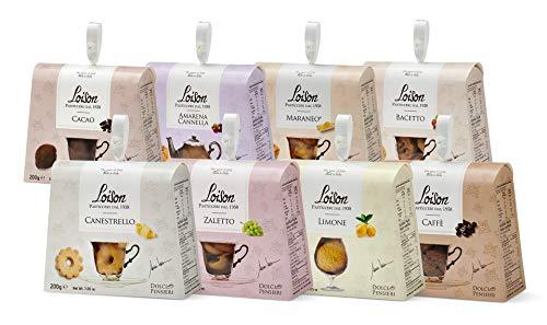 Loison - Assortimento di Biscotti Pasticceria in Astucci da 200 Grammi Ciascuno. Otto Gusti: Canestrello, Cacao, Bacetto, Caffè, Maraneo, Limone, Zaletto, Amarena Cannella.