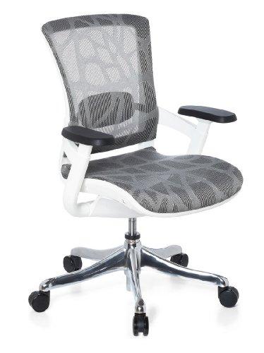hjh OFFICE 652900 Bürostuhl Skate Style Sitz und Rücken Netz, Design grau / Rahmen weiß