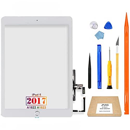 JPUNG Touchscreen Digitizer Per iPad 5 2017 (Bianco) 9.7 Pollici, Per A1822 A1823 Schermo tattile Frontale,con Home Buttone,include Strumenti di Riparazione
