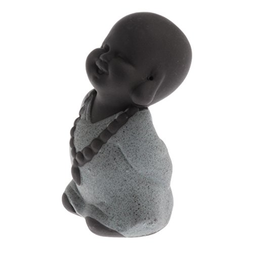 MagiDeal Lila Sand Mönch Buddha Figur Skulptur Statuen Set, Tee Tray Dekor - Grüner Mönch, 7.8x4.5cm