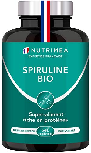 Spiruline BIO pure certifiée AB sans excipient - Superaliment riche en phycocyanine et antioxydants - 540 Comprimés 500 mg - Protéines, vitamines, oligo-éléments et caroténoïdes - Fabrication française