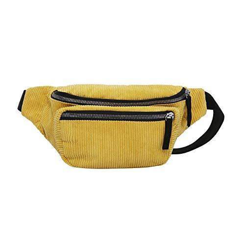 OneMoreT Vintage Kord-Bauchtasche für Damen und Mädchen, Gürtel, Doppelreißverschluss, Retro-Taille, Heuptas, gelb