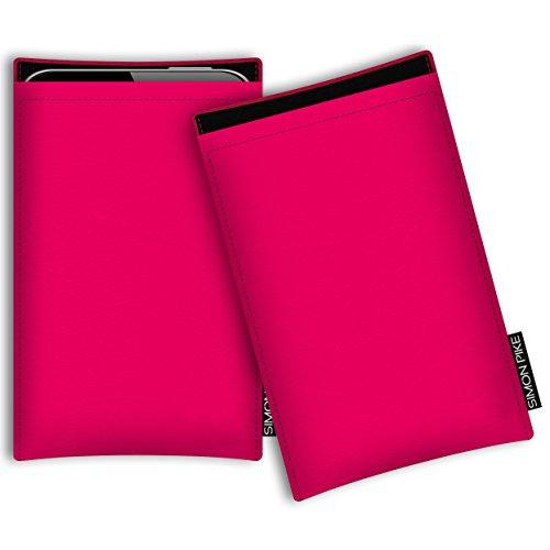SIMON PIKE Hülle Tasche kompatibel mit Microsoft Surface Duo | Schutztasche Boston in 01 neonpink aus Kunstleder Handyhülle