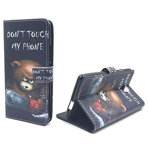 König Design Handyhülle Kompatibel mit Wiko Robby Handytasche Schutzhülle Tasche Flip Hülle mit Kreditkartenfächern - Don't Touch My Phone Bär mit Kettensäge